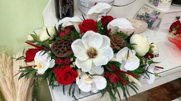 Centro de coche flor artificial